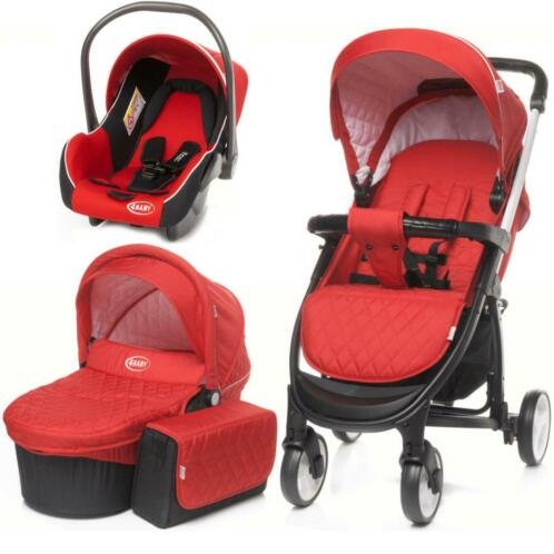 4Baby Atomic Red Kinderwagen incl. Autostoel en Tas