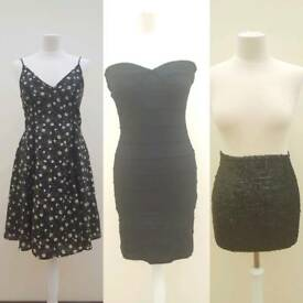 2 black dresses and a sequin mini skirt