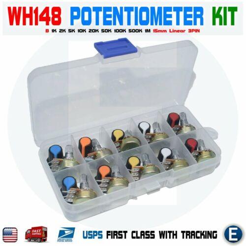 WH148 Potentiometer Kit B1K 2K 5K 10K 20K 50K 100K 500K 1M 15mm Box + Cap USA