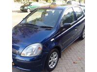 TOYOTA YARIS 2002 AUTOMATIC 5 DOOR BLUE 1.3 VVTI AIRCON, MOT & TAX E/W, P/S SUNROOF ONLY 64K £1450