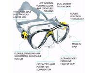 Cressi Big Eyes Evolution Crystal Scuba Diving Snorkeling Mask Yellow NEW