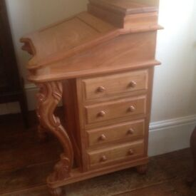 Devonport desk in carved mahogany.