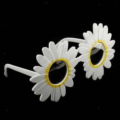 Novelty Daisy Eyeglasses Flower Glasses Fancy Dress Funny Sunglasses White - Novelty Glasses