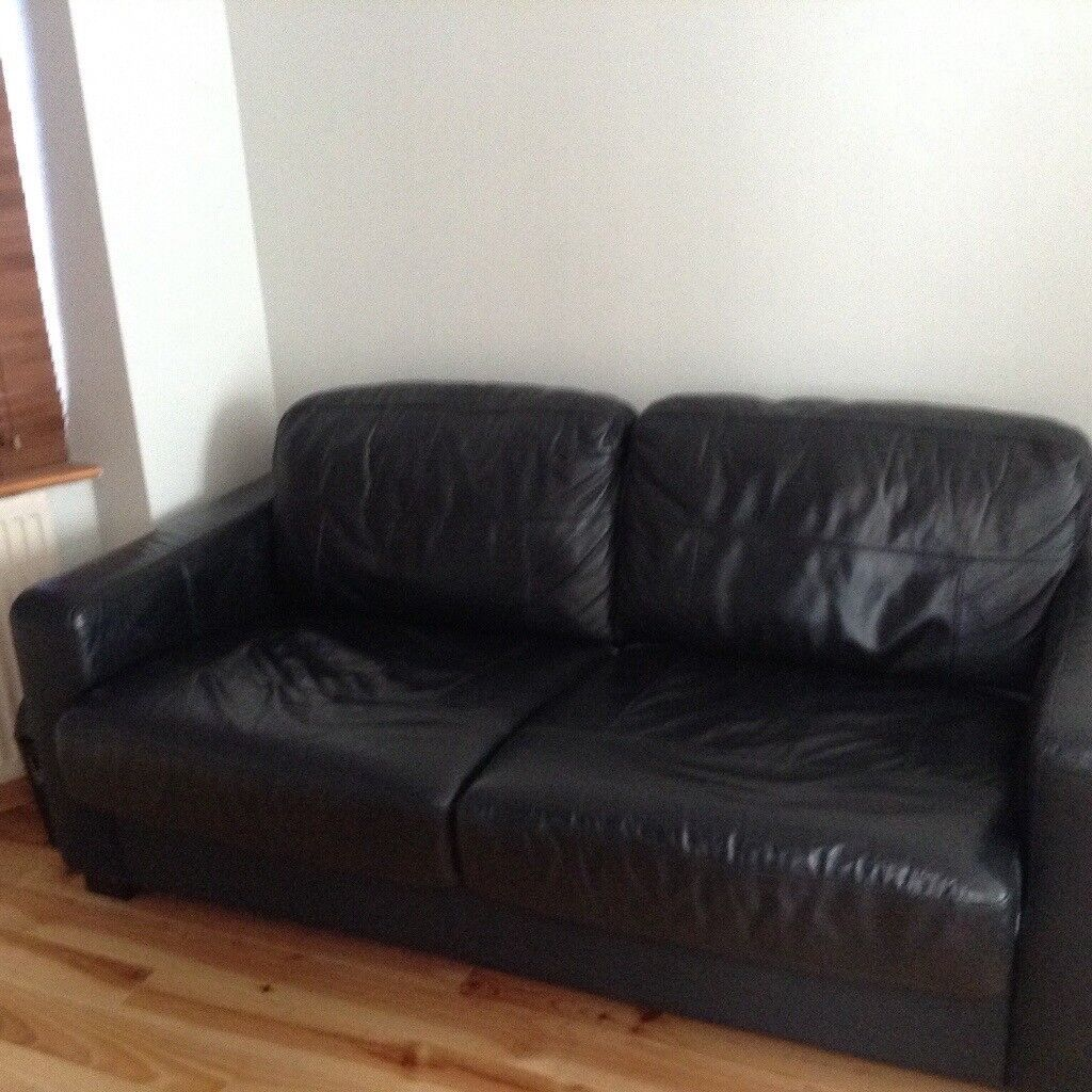 Gumtree Corner Sofa Bed Glasgow: Leather Sofa Bed. Black Leather. Good Condition. Next