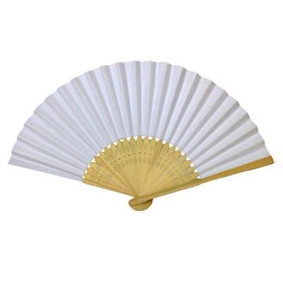 Paper Fans Bulk (LOT OF 10 WHITE HAND FAN Folding Pocket Wedding Plain Bamboo Paper GOOD)