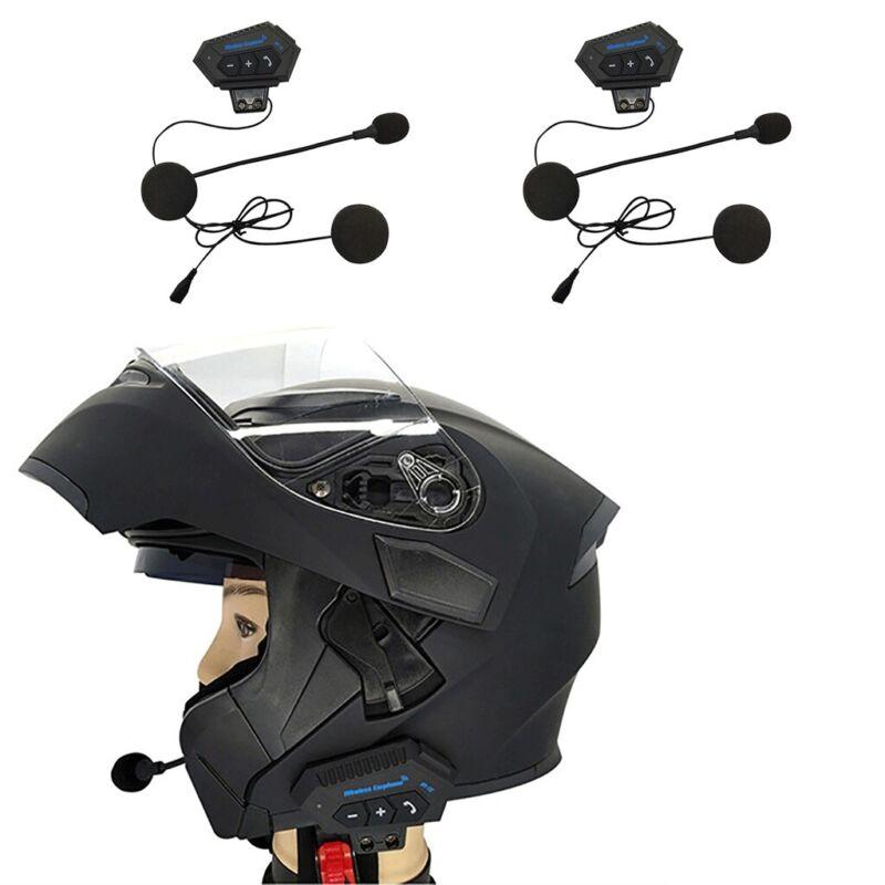 2x Bluetooth Motorcycle Helmet Headset Intercom Stereo Mic Handsfree Music