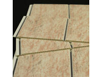 Travertine Beige & Chrome Bathroom Cladding Panels Waterproof x 40 for large room. Killer Price!