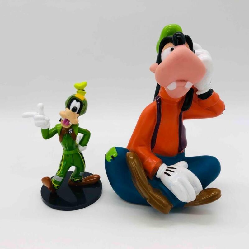 "2X Disney Goofy Toy Figures 4"" Roadster Racer Cake Topper & 6"" Rubber Goofy"
