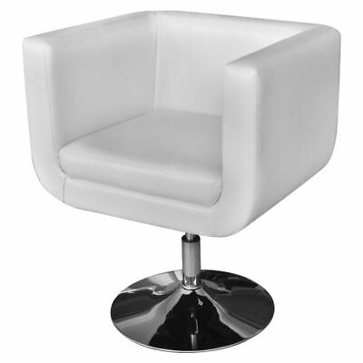 vidaXL Armchair w/ Chrome Base Artificial Leather White Seat Lounger Furniture