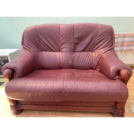 Burgundy 2 seater leather