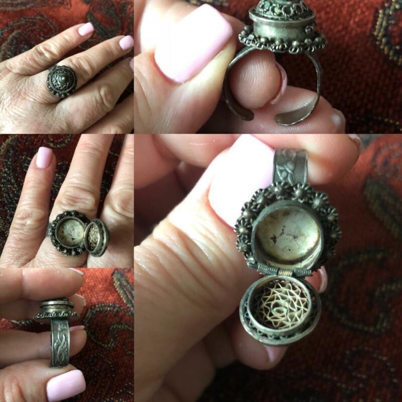 Vintage Antique Poison Ring Hinged Lid Snuff Art Nouveau Silver Filagree Adjust