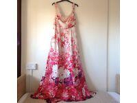 Monsoon 100% silk maxi floral dress size 14