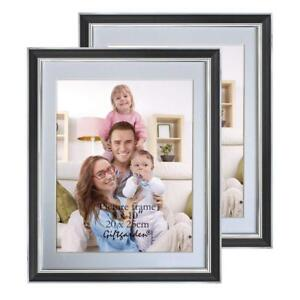 NEW 8x10 Picture Photo Frames Set for Wall, 8 by 10 inch, Black, 2 pcs, PVC Lens