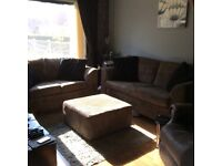 3 SEATER 2 SEATER & LARGE POUFFE / TABLE.