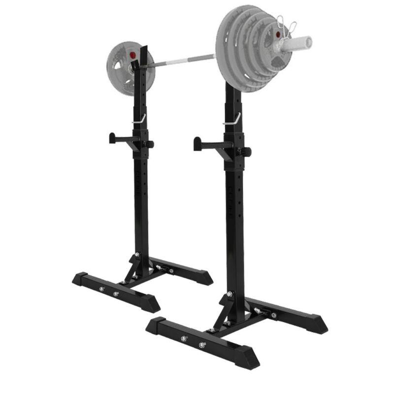 2pc Adjustable Rack Standard Steel Squat Stands Barbell Free