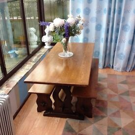 Oak Refractory Table and Benches