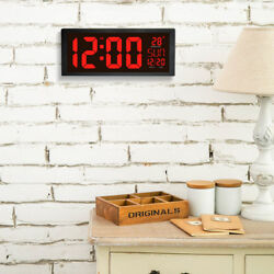 Large Digital LED Wall Clock Temperature Date Fold Out Stand US Plug