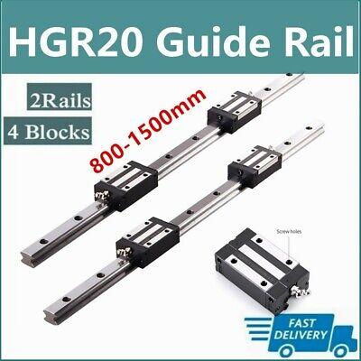 2pcs Linear Rail Guide Hgr20 800mm-1500mm 4pcs Hgh20ca Bearing Block Set Cnc Us