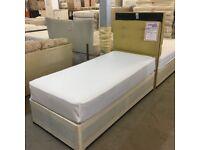 Single divan bed with luxury headboard