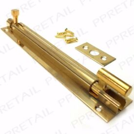 6 NEW SOLID BRASS NECKED SLIDE BOLTS 150mm Cranked Offset Recessed Door Locks £3 ea or all 6 for £15