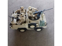 TOY ARMY VEHICLE WITH 3 SOLDIERS AND RIFLES