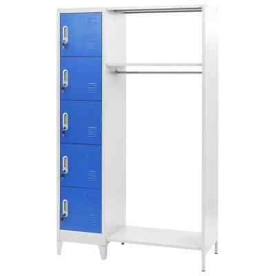 Vidaxl Locker Cabinet With Coat Rack Blue And Gray Metal Storage Organizer