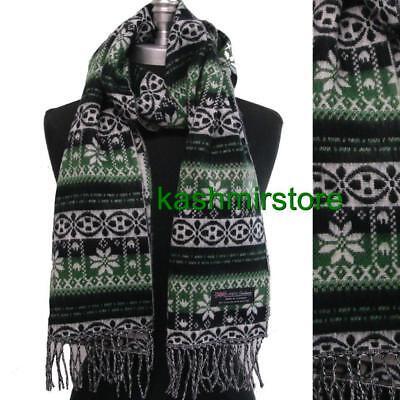 (New Women's 100% Cashmere Scarf Wrap SCOTLAND Soft Color Green/Black/White)