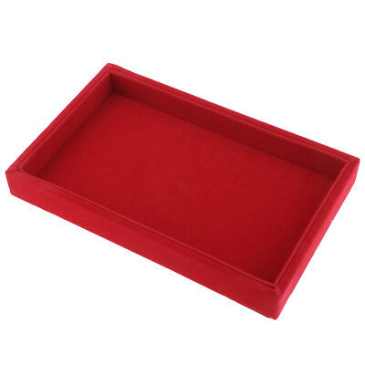 Deluxe Necklace Bacelet Earring Display Tray Holder - Velvet - Red