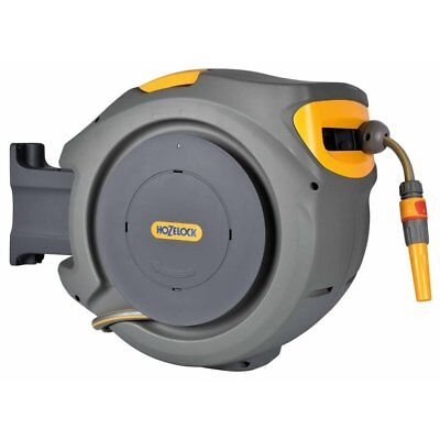 Hozelock 40m Auto Wall Mounted Garden Water Hose Pipe Reel Hose + Connector