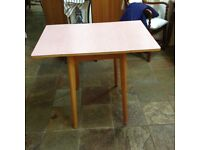 1950's vintage Formica and beech kitchen table with two flaps