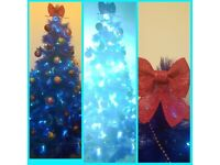 Blue sparkle christmas tree in box, only put up once for 1 day,too big for my house £15