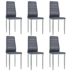 Dining Chairs 6 pcs Grey Ultrasuede Leather XAWM1-248294