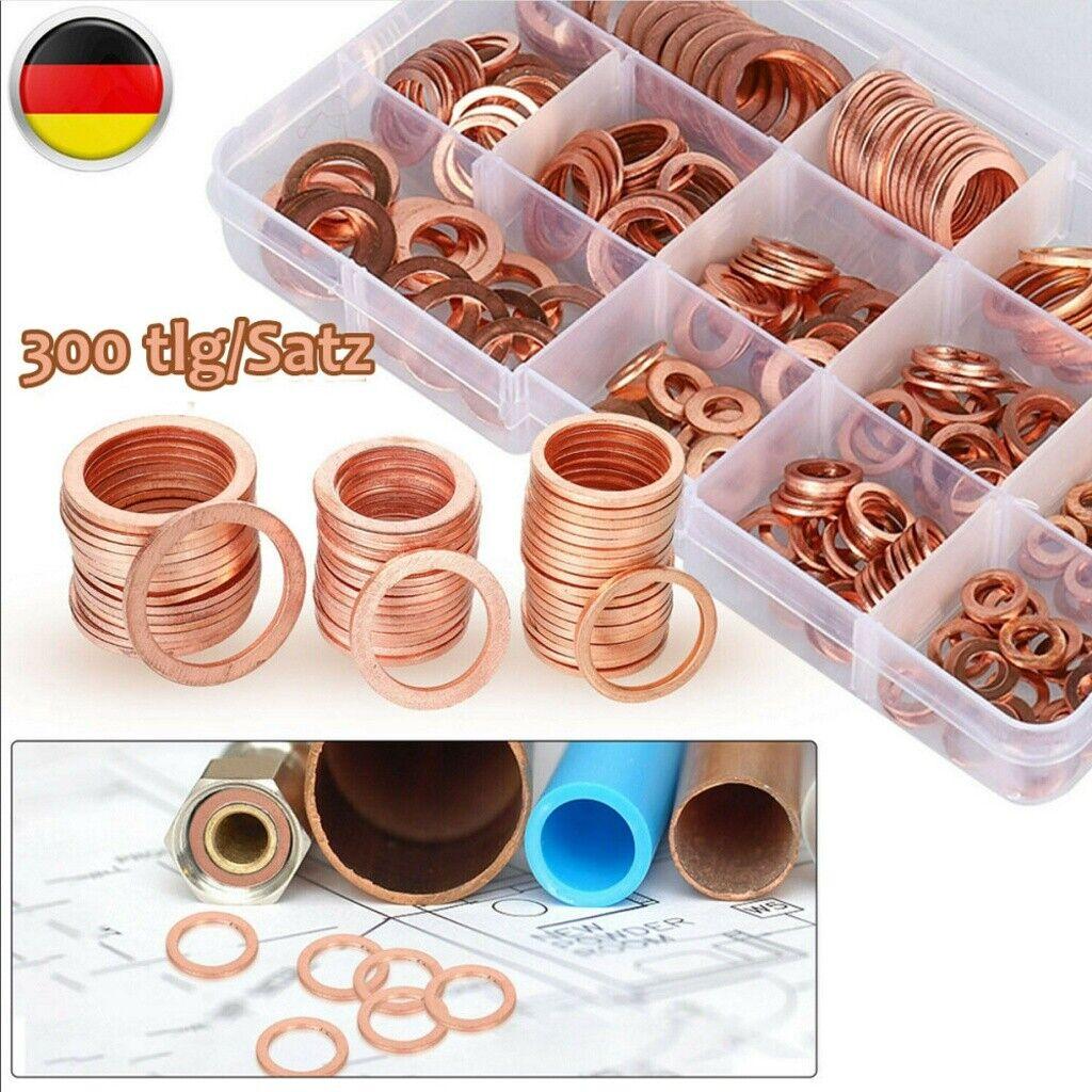 Box Aluminium Dichtringe Set 450 Tlg 18-Größen Öl Ablass Schrauben Alu-Ringe