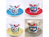 Cath Kidston Clocks Floral Vintage Retro Tea Cup & Saucer Set 4 Mugs Plates +Box