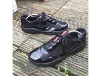 Prada patent black trainers size 8