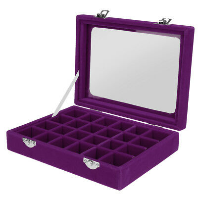 Elegant Jewelry Necklace Earring Storage Display Box Case Glass Lid Purple