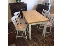 Beautiful Farmhouse Dining Table and four Fiddle back chairs