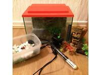 Small fish tank/aquarium with heater, ornaments, filter