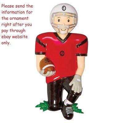 GRANDSON BOY FOOTBALL PLAYER SPORT COACH PERSONALIZED CHRISTMAS TREE ORNAMENT](Personalized Football Ornaments)