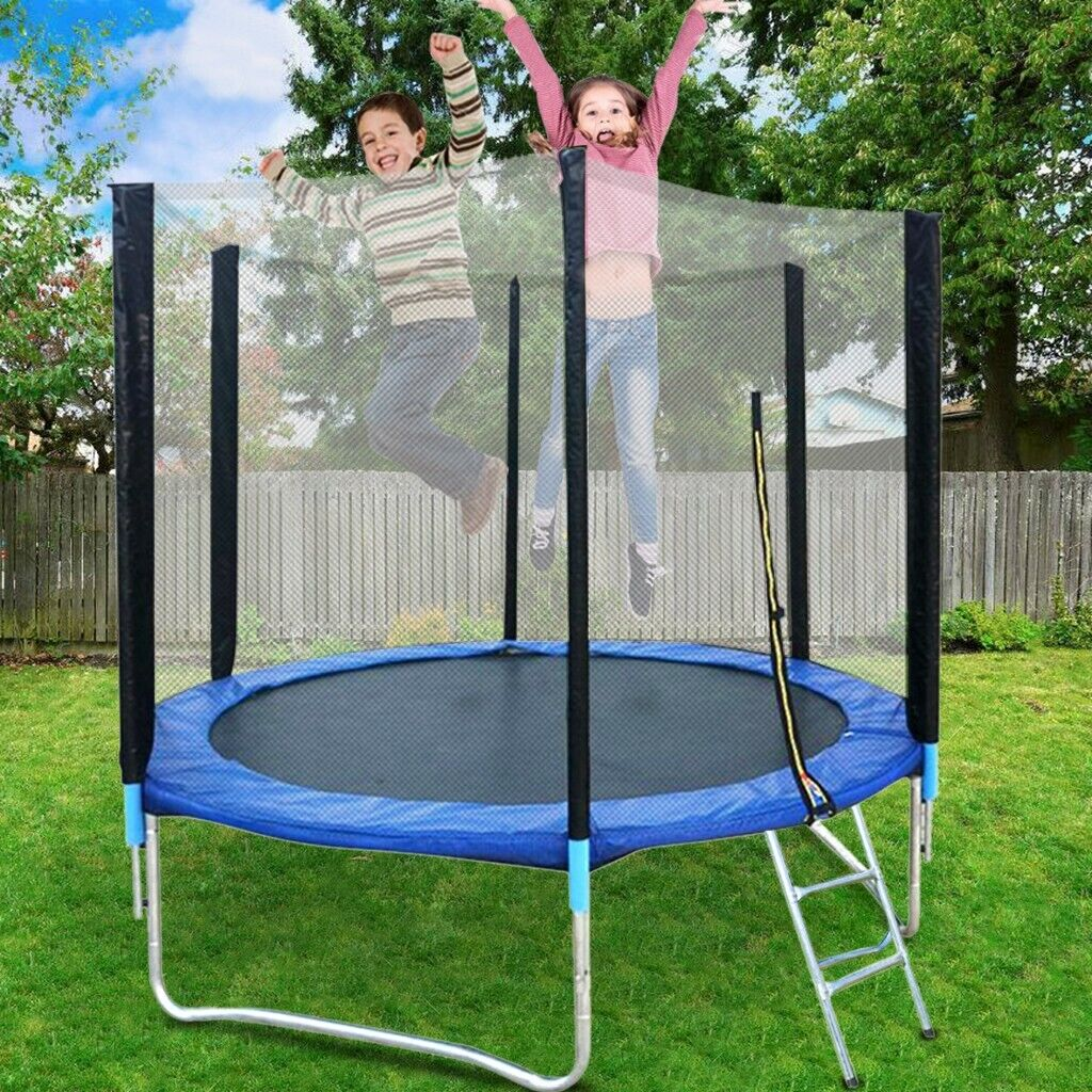 8 FT Outdoor Round Trampoline with Safety Enclosure Basketba