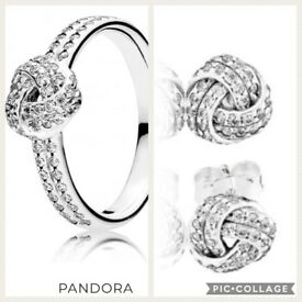 Matching Pandora Love Knot Ring and Earrings (with boxes) (willing to post)