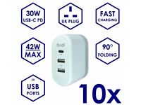 10x USB-C PD 30W & 2.4A Charger Plug for Mobile / Apple iPhone Fast Charging (Job Lot)