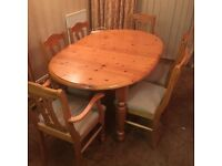 Pine dining table, extends, 6 chairs, vgc, delivery possible,