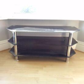 LARGE BLACK GLASS TV TABLE