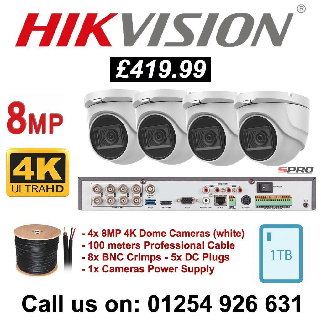 Hikvision - 8 Megapixels 4K SPRO 4 Cameras, 8 Channel DVR 1TB HDD CCTV  Package | in Bolton, Manchester | Gumtree