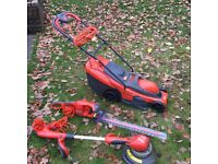 Flymo bundle; mower, hedge trimmer and grass trimmer