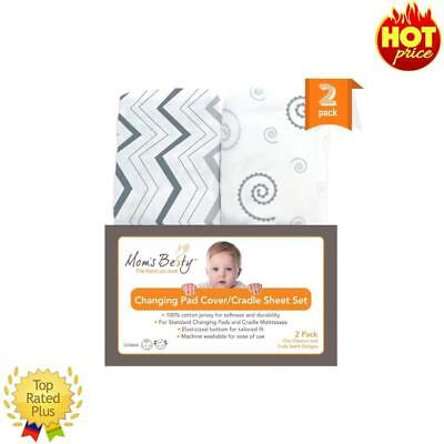 Changing Pad Cover Set Baby Cradle Sheet Super Soft Jersey Cotton Grey &White