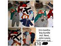 3-6 months boy bundle, incl. Next, John Lewis, mini club, GAP