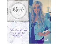 Hair stylist at blondehairsalon book now for 25% off