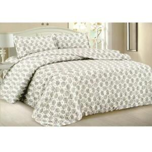 Todd Linens Queen Bedspread 3-Piece Quilt Set Soft Quilted Bedding - Microfiber Coverlet + 2 Pillow Shams (Grey)